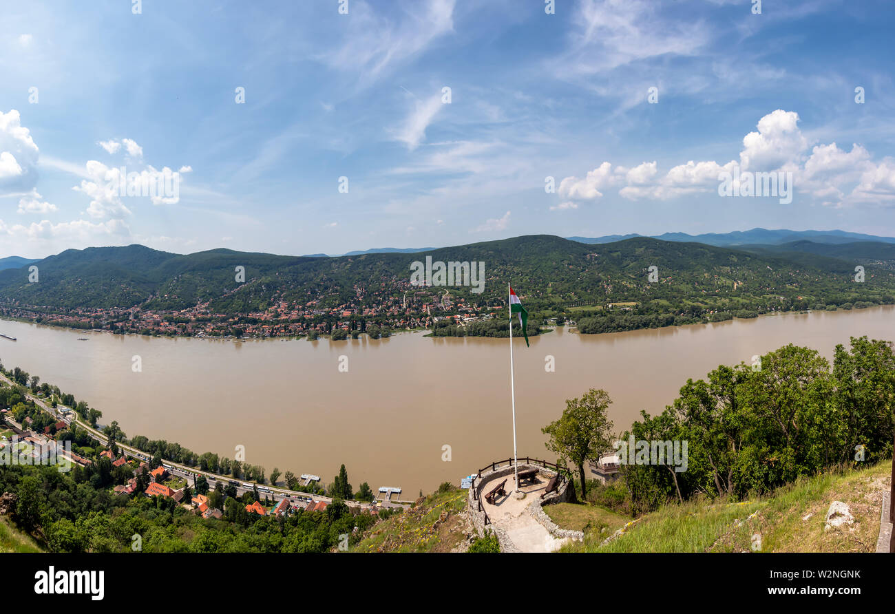 Panoramic view of Prague Czech Republic and Vltava river from Visegrad fortress - Stock Image