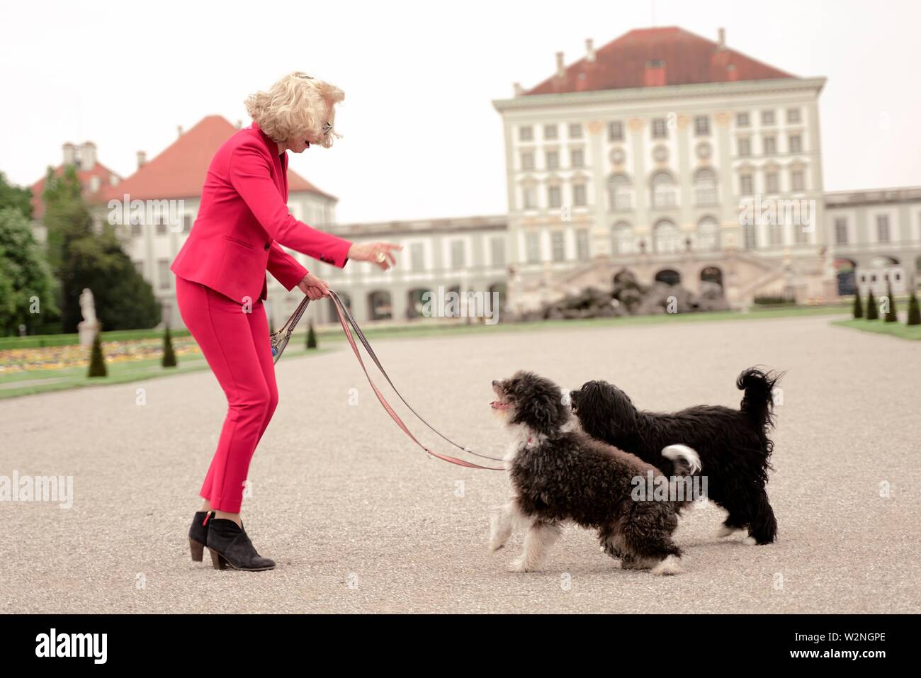 senior woman (67 years old) with two dogs on leash in park at touristic sight Nymphenburg palace, in Munich, Germany. - Stock Image