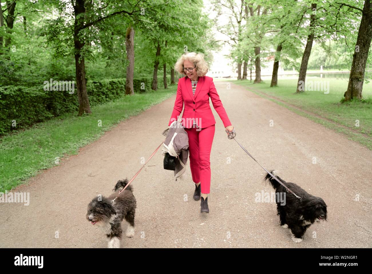 senior woman (67 years old) walking with two dogs on leash in park, in Nymphenburg, Munich, Germany. - Stock Image
