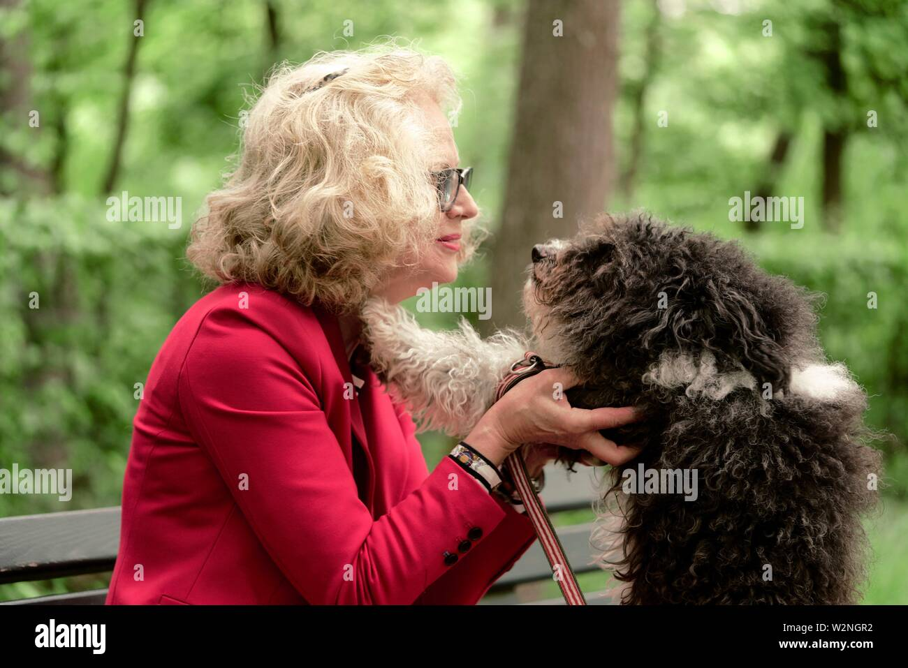 senior woman (67 years old) with dog in park, face to face, in Nymphenburg, Munich, Germany. - Stock Image