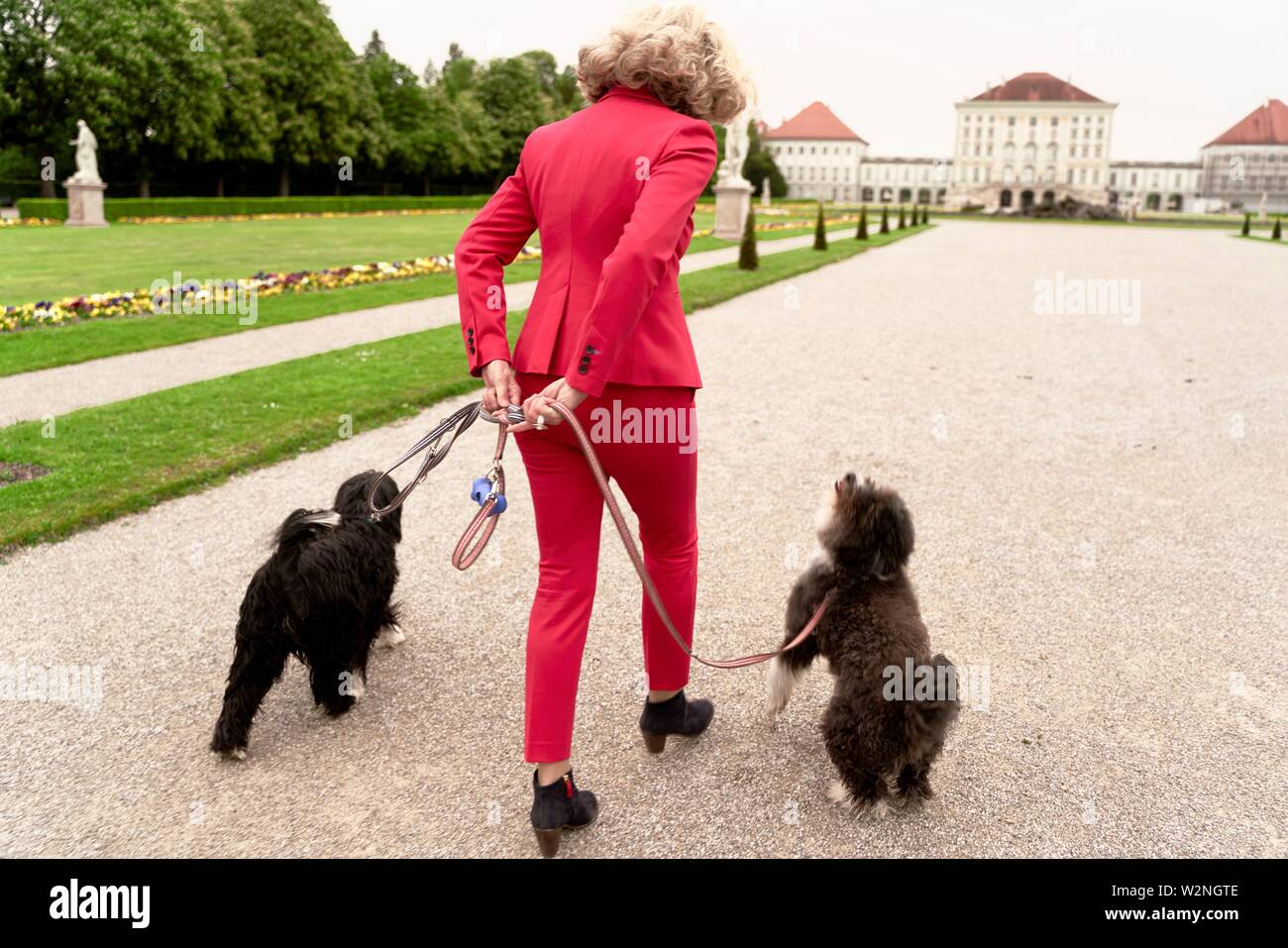 senior woman (67 years old) walking with two dogs in park, in Nymphenburg, Munich, Germany. - Stock Image