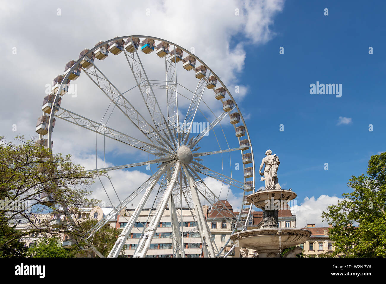 Budapest, Hungary - May 25, 2019 : View of the ferris wheel in Erzsebet square in Budapest, Hungary Stock Photo