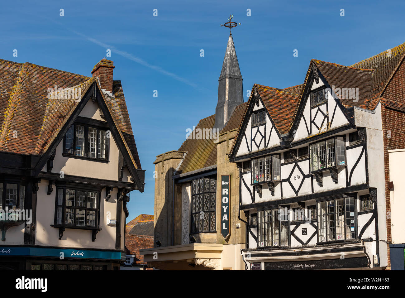 Picture of The Royal Cinema including two Tudor Houses next to it. Tudor Houses are in front. Stock Photo