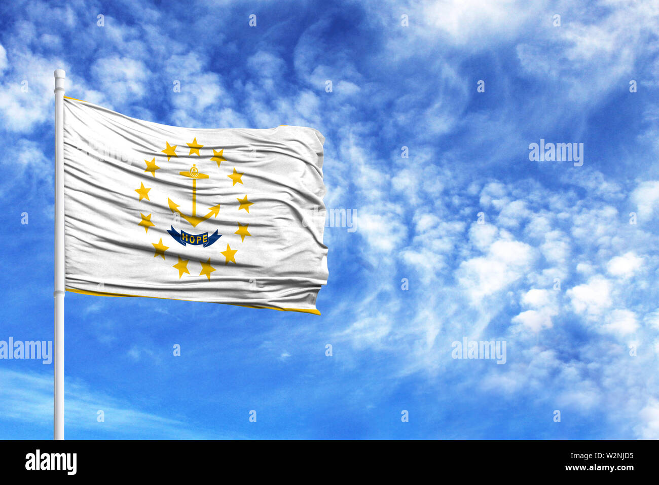 National flag State of Rhode Island and Providence Plantations on a flagpole in front of blue sky - Stock Image