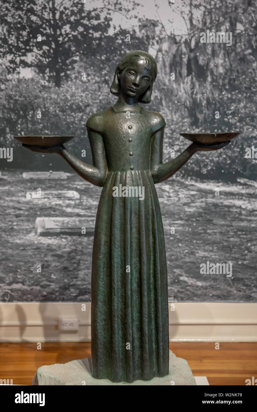 Bird girl statue previously in Bonaventure cemetery; Midnight in the garden of good and evil. - Stock Image
