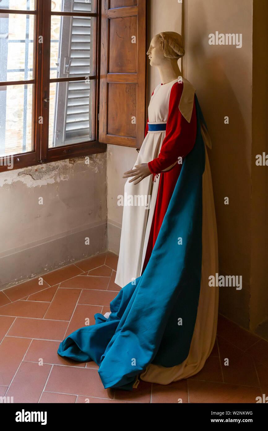 Medieval costume, House of Piero della Francesca, Casa di Piero della Francesca, Sansepolcro,  Tuscany, Italy, Europe Stock Photo