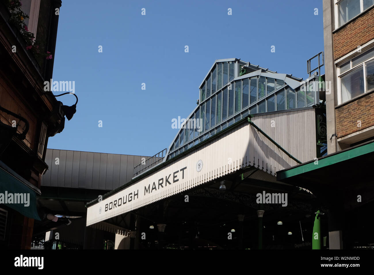London, United Kingdom: July 1st 2019 - Borough Market in the London Bridge area is one of London's oldest markets and has become a trendy foodie dest - Stock Image