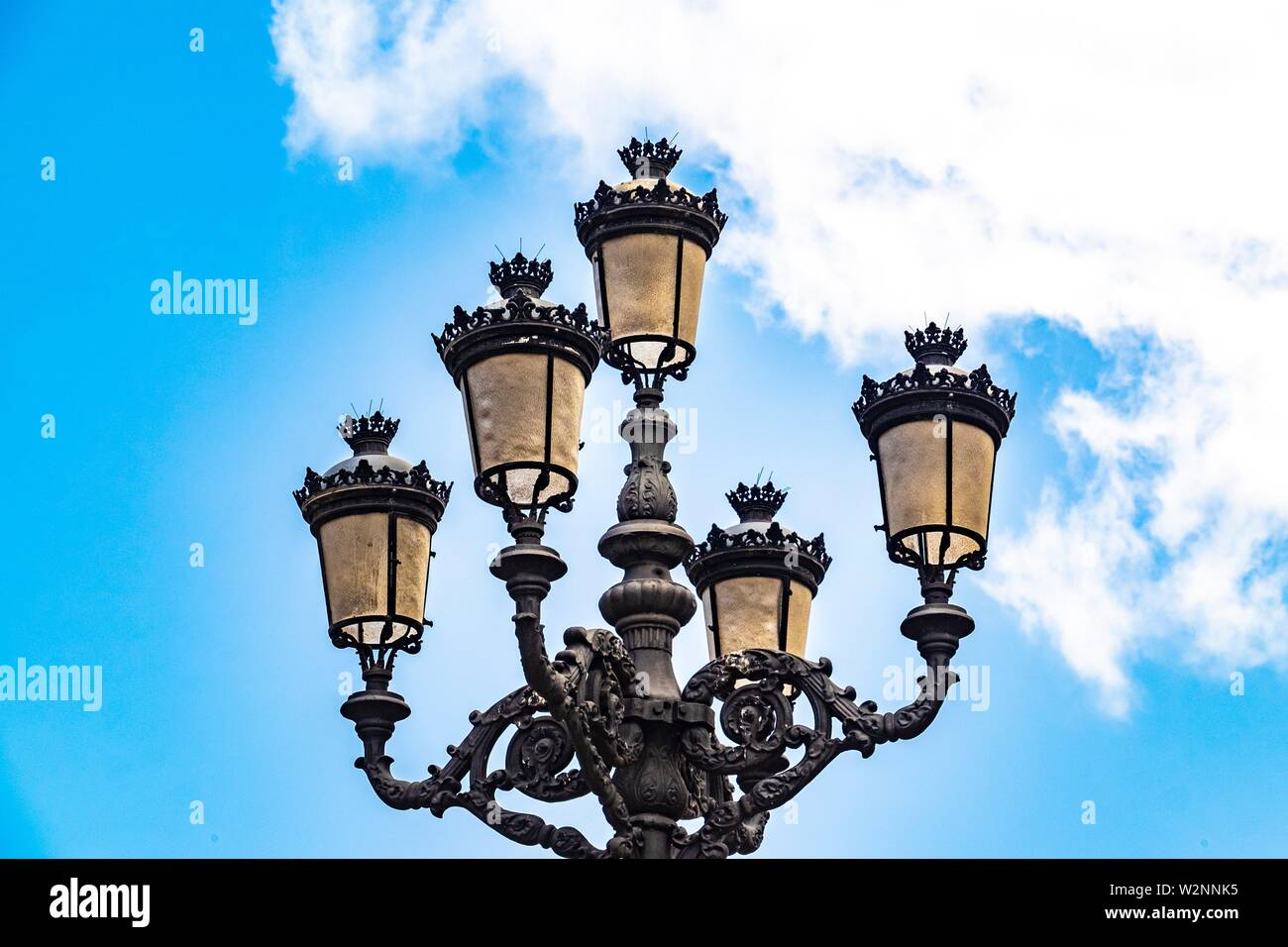 Old lamp post at Plaza de San Francisco, Triana quarter, Las Palmas de Gran Canaria, Canary Islands. Stock Photo