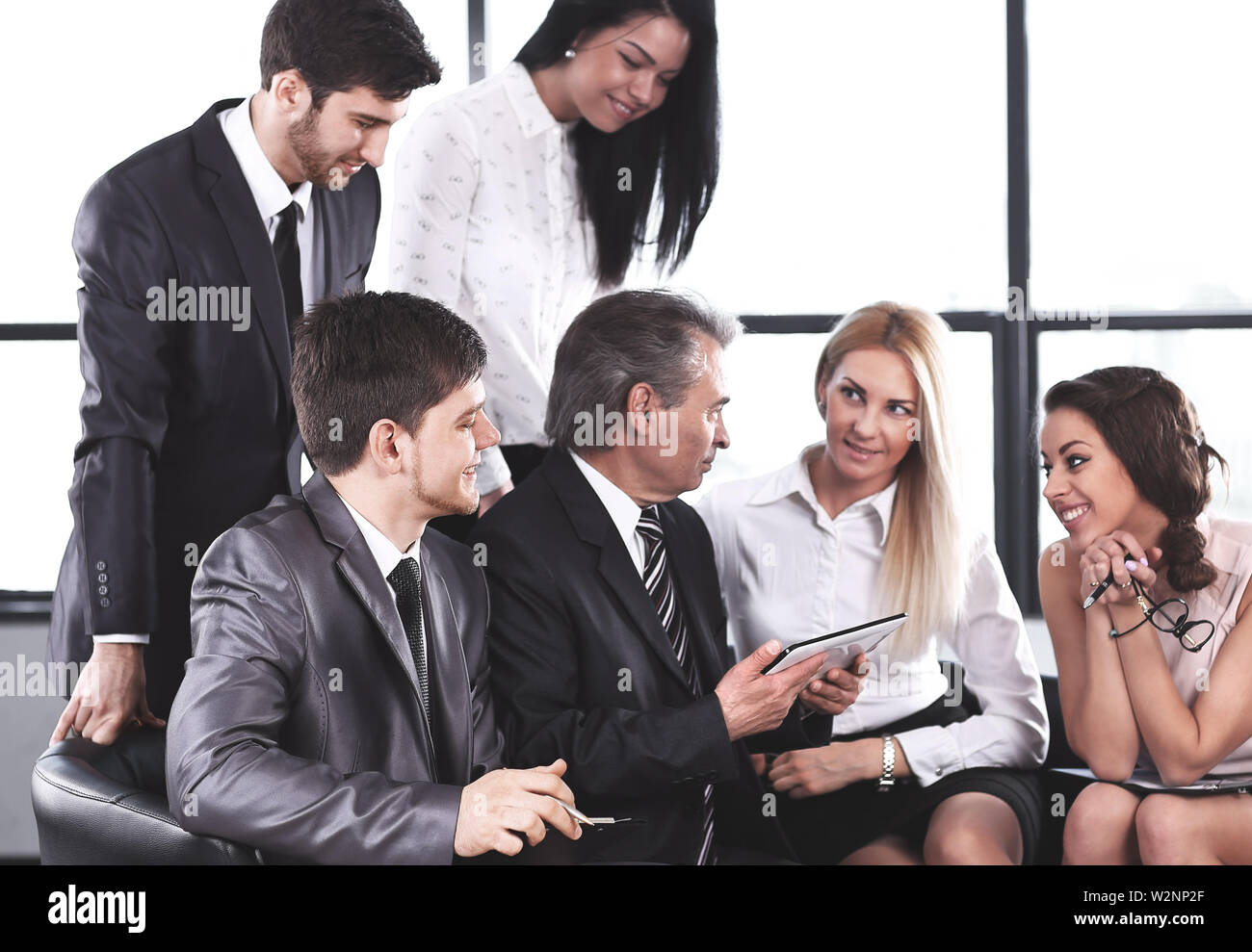 businessman and business team using digital tablet.business and technology - Stock Image