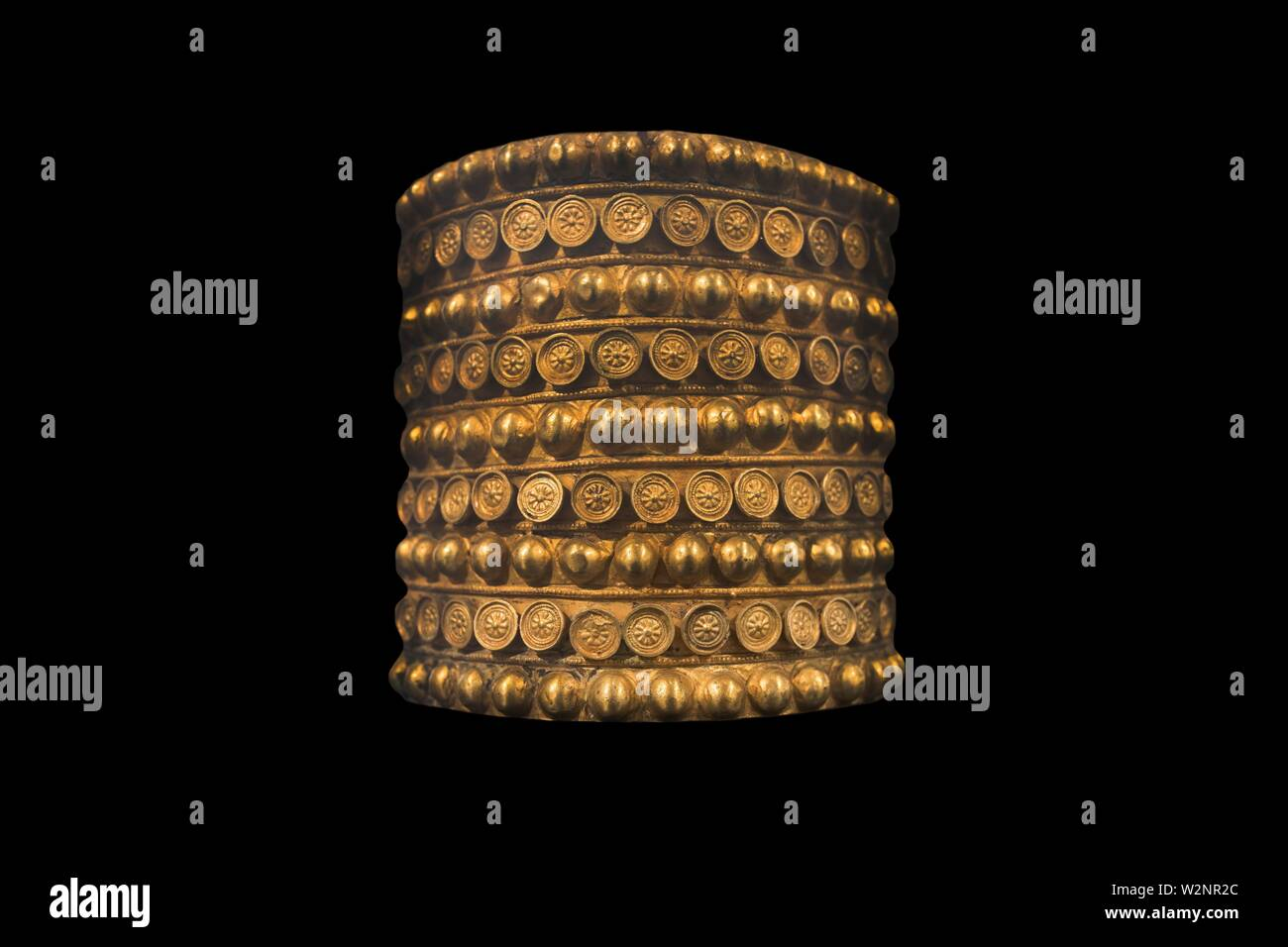 Treasure of El Carambolo Bracelet, Archaeological Museum of Seville, Andalusia, Spain. Isolated - Stock Image