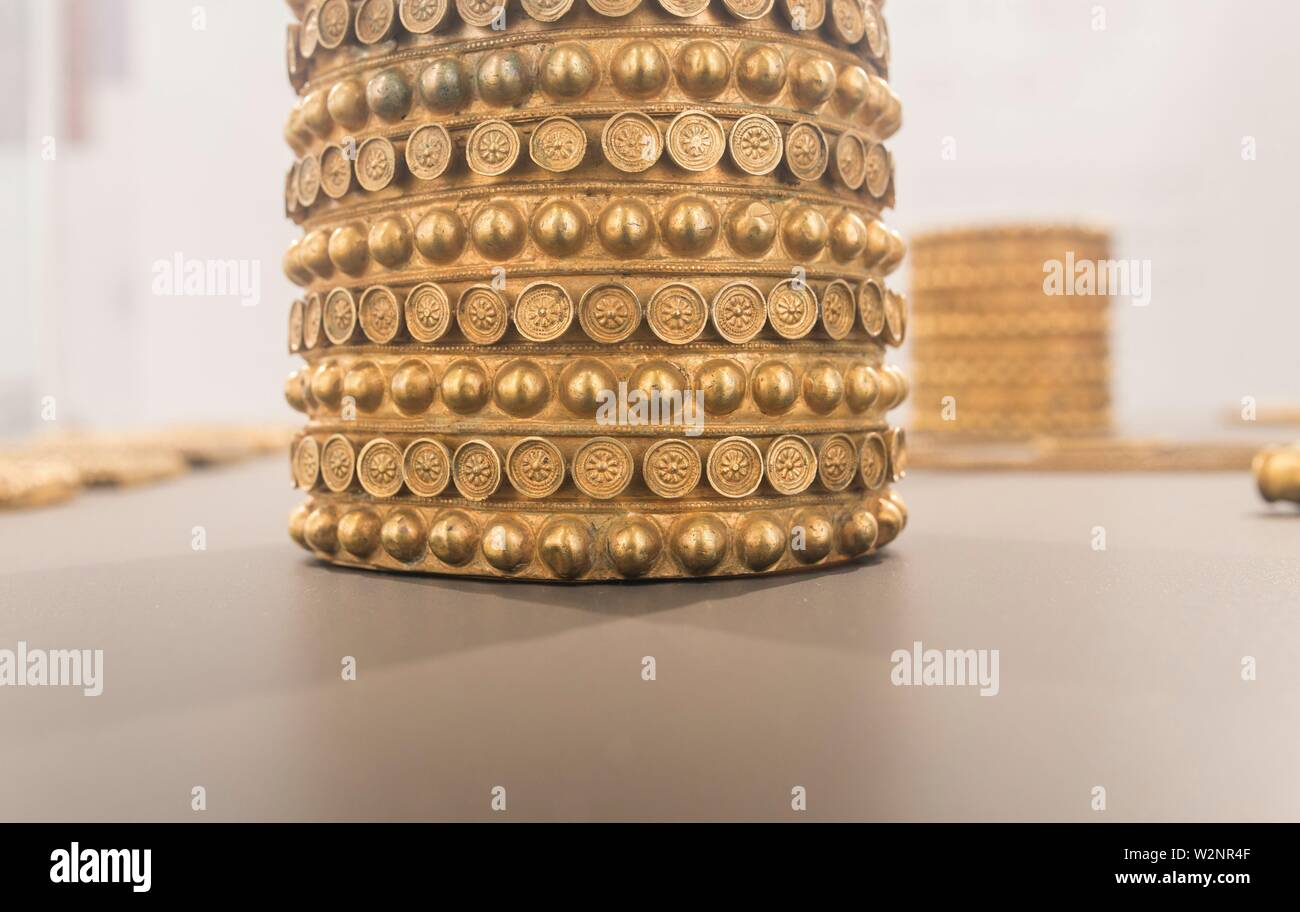 Treasure of El Carambolo Bracelet, Archaeological Museum of Seville, Andalusia, Spain. - Stock Image