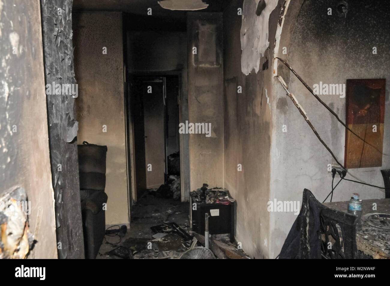 On May 23 2019, a forest fire devastated the village of Mevo Modiim, Israel. Interior of a burnt home - Stock Image