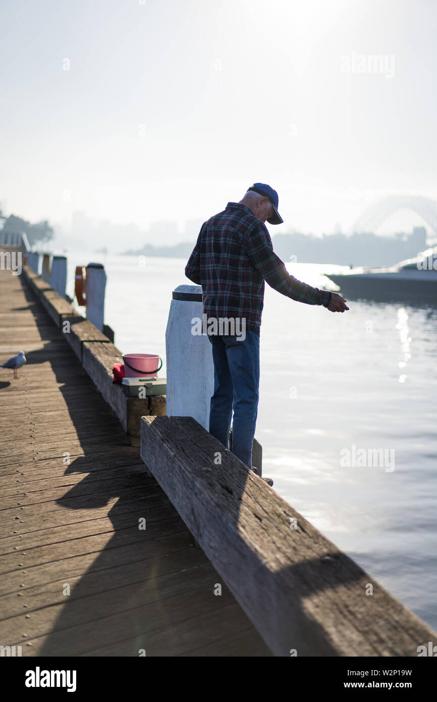 Pyrmont, New South Wales - JUNE 28th, 2019: Local fisherman