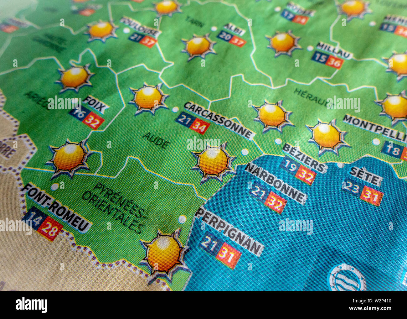 Map Of The South Of France.Newspaper Heatwave Weather Predictions Map For The South Of France