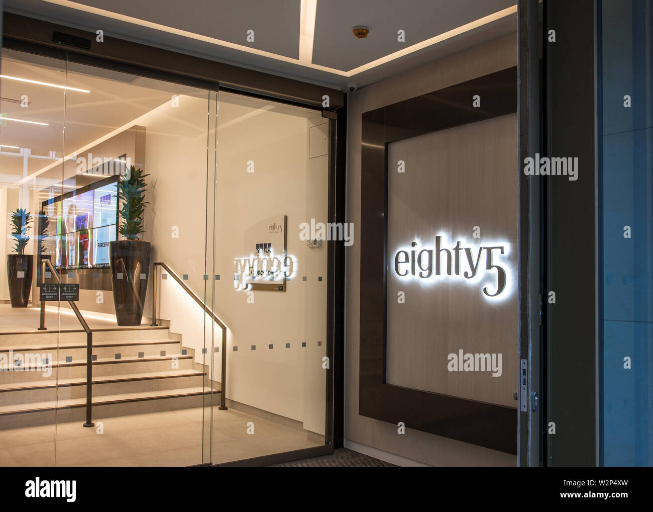 Cork City, Cork, Ireland. 06th April, 2019. Lobby of the brand new eighty5 building on the South Mall in Cork, Ireland. - Stock Image