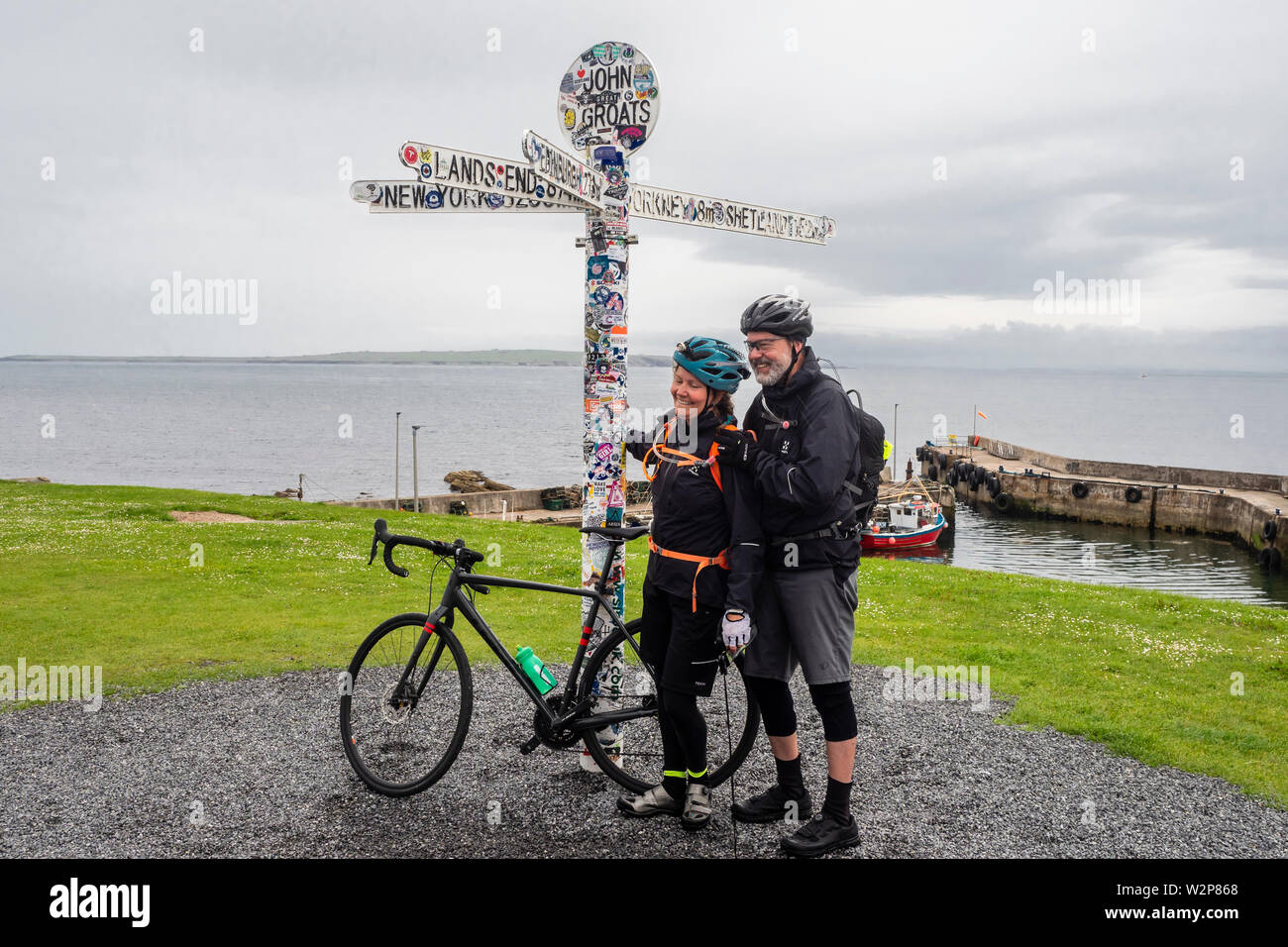 John o' Groats is a village 2.5 miles NE of the village of Canisbay, Caithness, in the far north of Scotland. Stock Photo