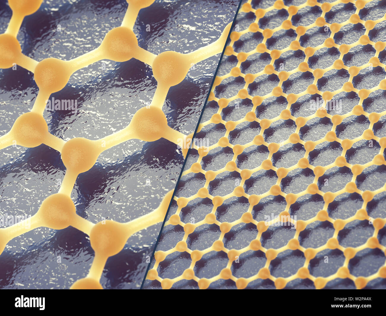 Graphene is composed of carbon atoms distributed in hexagonal pattern, Graphene based nanotechnology - Stock Image