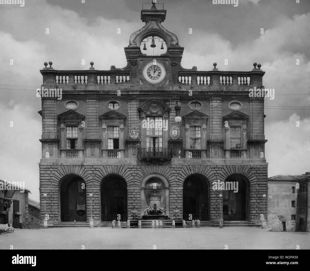 lazio, town hall of nepi, 1920 - Stock Image