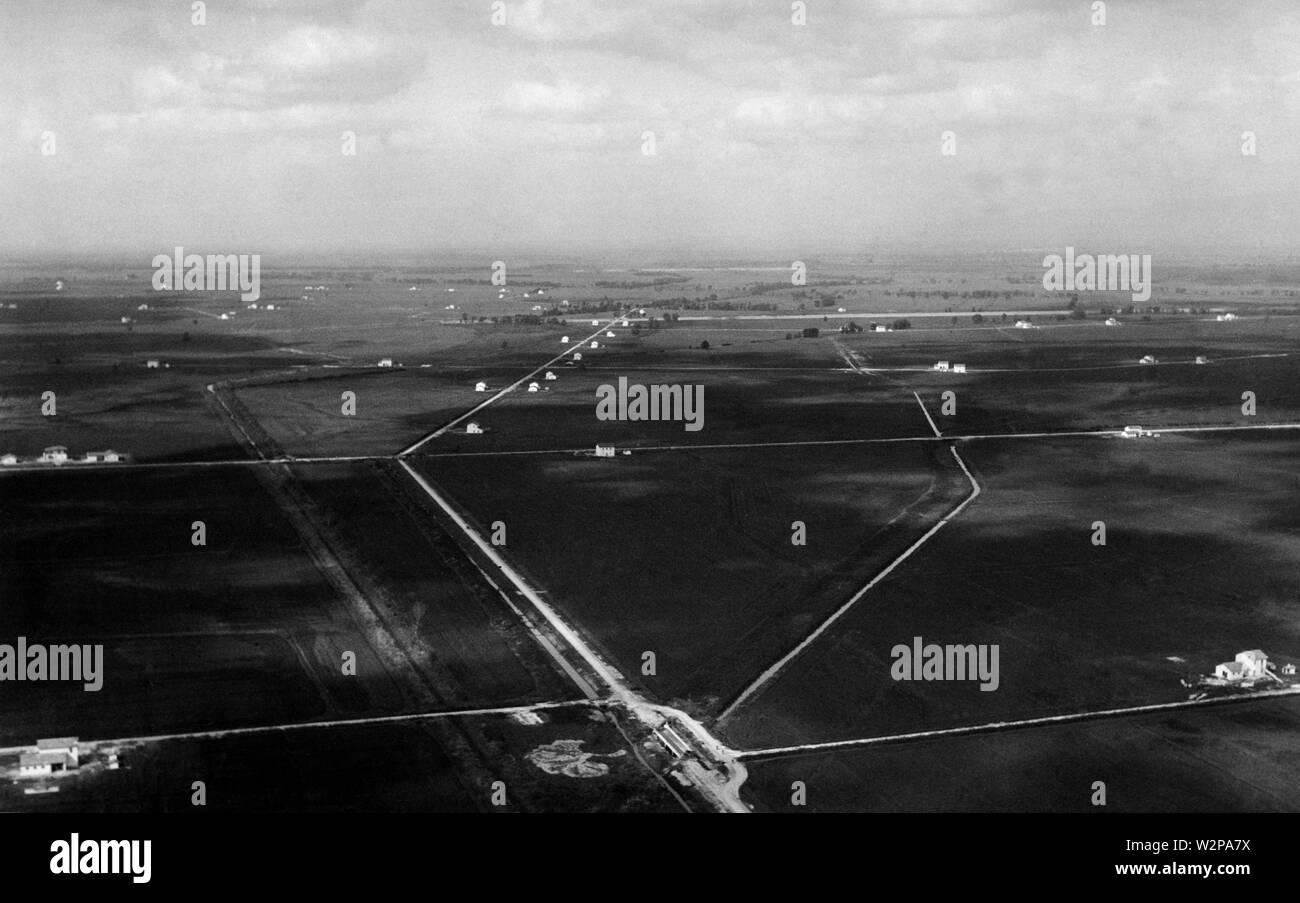 lazio, aerial view of the agro pontino near littoria, 1920-30 - Stock Image