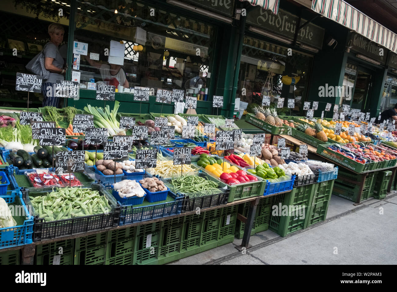 Display of fresh fruit and vegetables for sale at Naschmarkt, a popular market destination in Vienna, Austria - Stock Image
