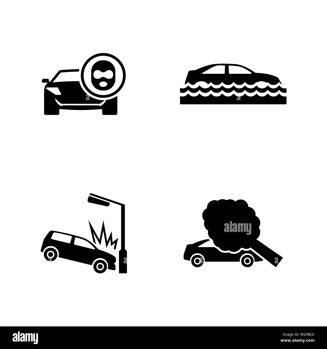Car Crashes. Simple Related Vector Icons Set for Video, Mobile Apps, Web Sites, Print Projects and Your Design. Black Flat Illustration on White Backg - Stock Vector