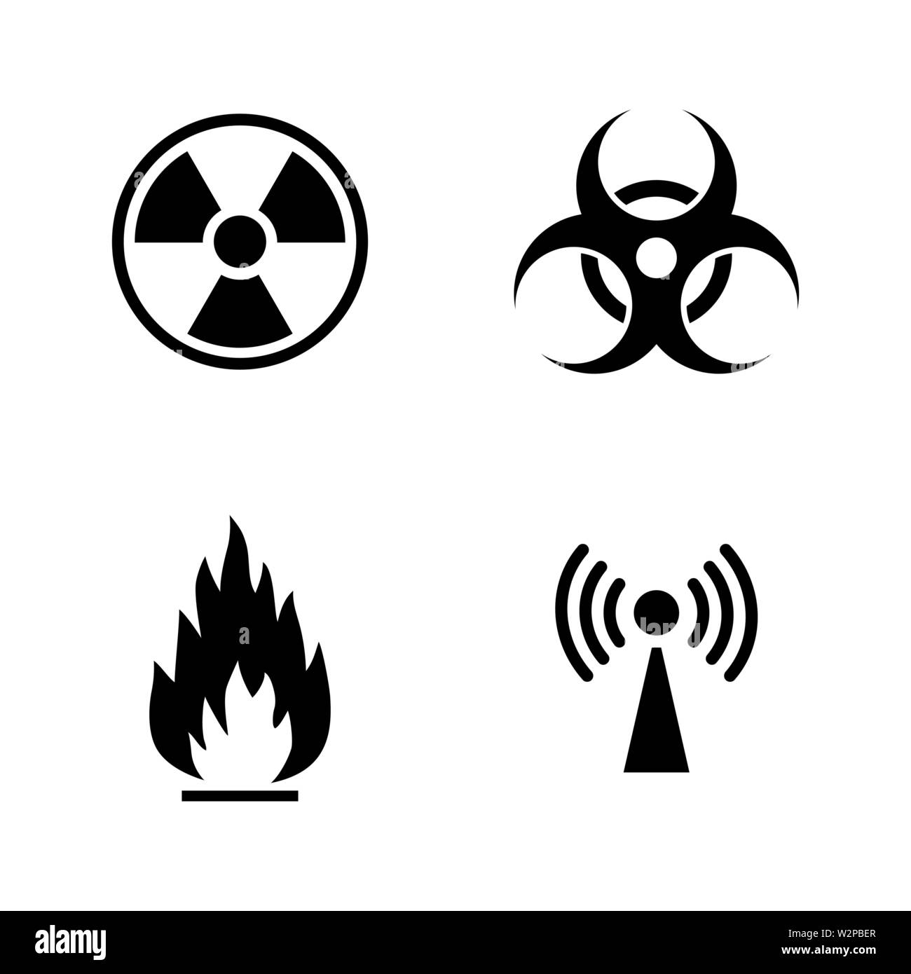 Danger. Simple Related Vector Icons Set for Video, Mobile Apps, Web Sites, Print Projects and Your Design. Black Flat Illustration on White Background - Stock Vector