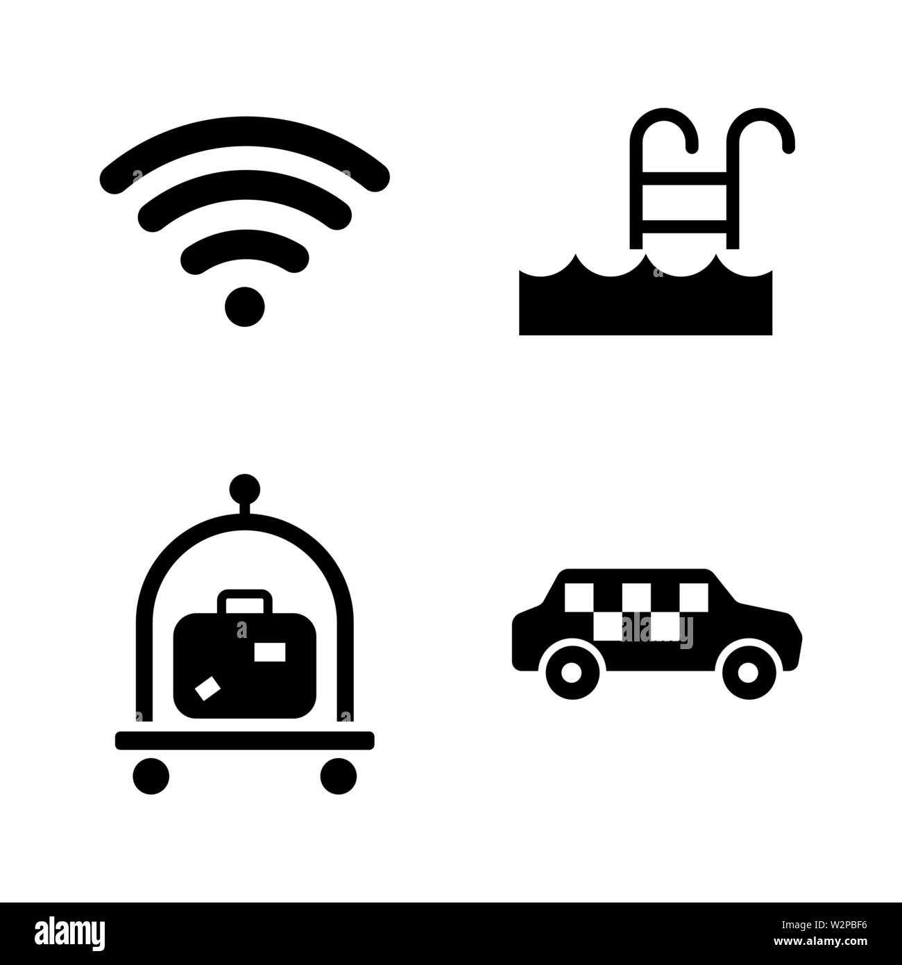 Hotel Service. Simple Related Vector Icons Set for Video, Mobile Apps, Web Sites, Print Projects and Your Design. Black Flat Illustration on White Bac - Stock Image