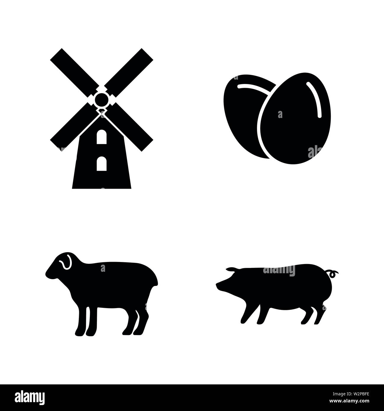 Farming. Simple Related Vector Icons Set for Video, Mobile Apps, Web Sites, Print Projects and Your Design. Black Flat Illustration on White Backgroun Stock Vector
