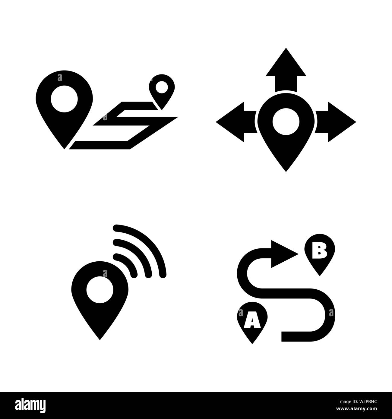 Navigation Map. Simple Related Vector Icons Set for Video, Mobile Apps, Web Sites, Print Projects and Your Design. Black Flat Illustration on White Ba - Stock Image