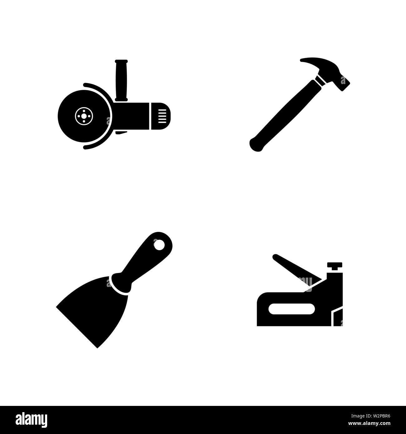 Construction Working Tools. Simple Related Vector Icons Set for Video, Mobile Apps, Web Sites, Print Projects and Your Design. Black Flat Illustration - Stock Vector