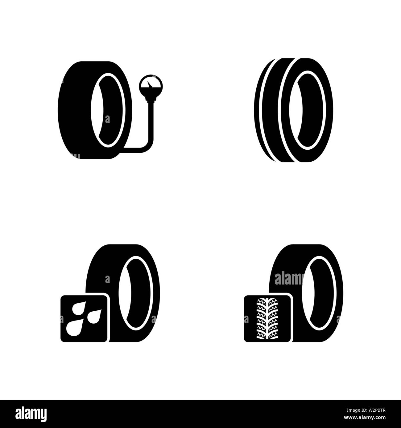 Auto Service Shop Wheels and Tires. Simple Related Vector Icons Set for Video, Mobile Apps, Web Sites, Print Projects and Your Design. Black Flat Illu Stock Vector