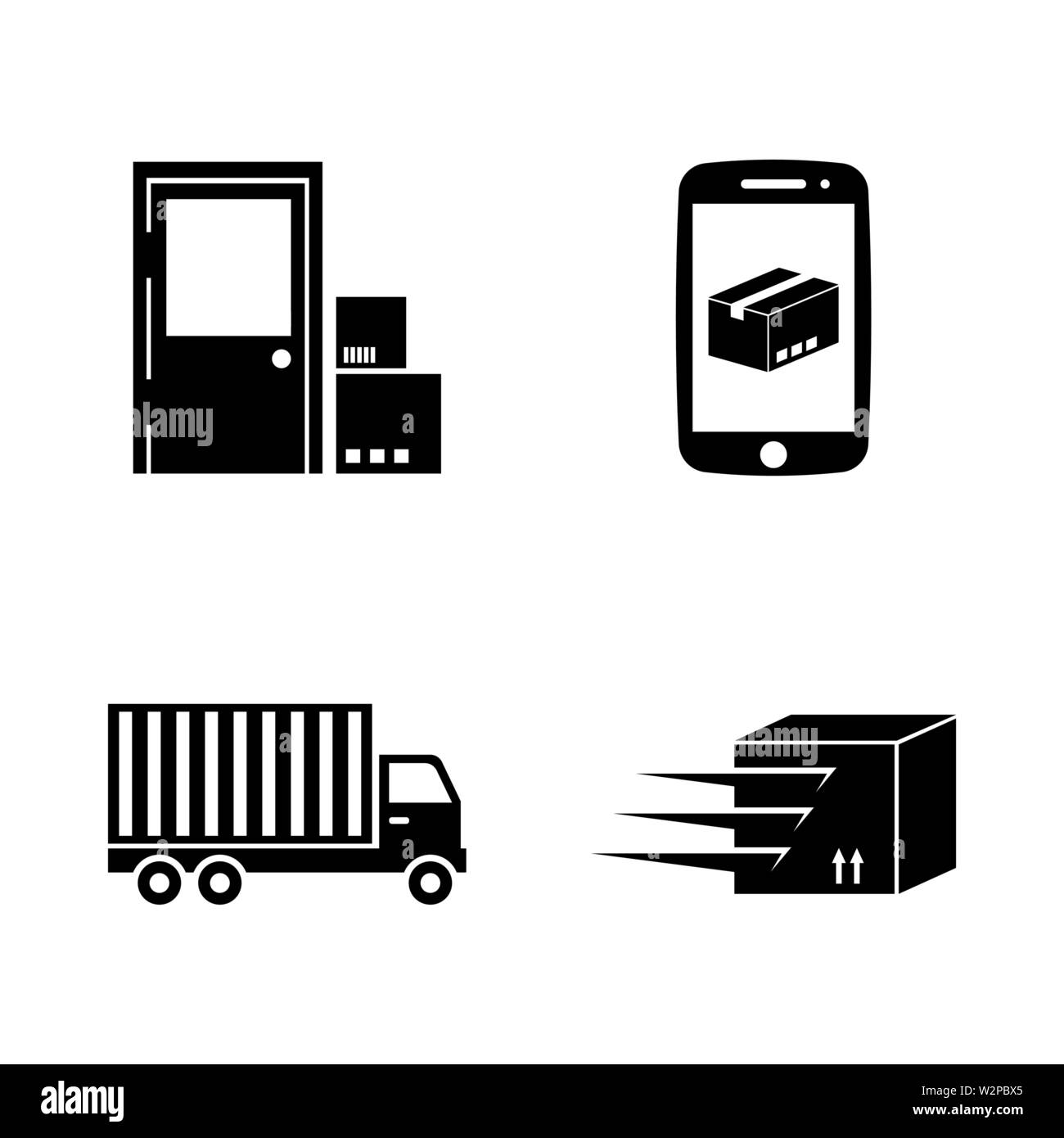 Delivery. Simple Related Vector Icons Set for Video, Mobile Apps, Web Sites, Print Projects and Your Design. Black Flat Illustration on White Backgrou - Stock Image