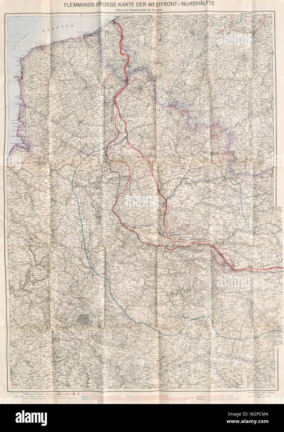 44-Große Karte der Westfront-Nordhälfte (1918) - Stock Image