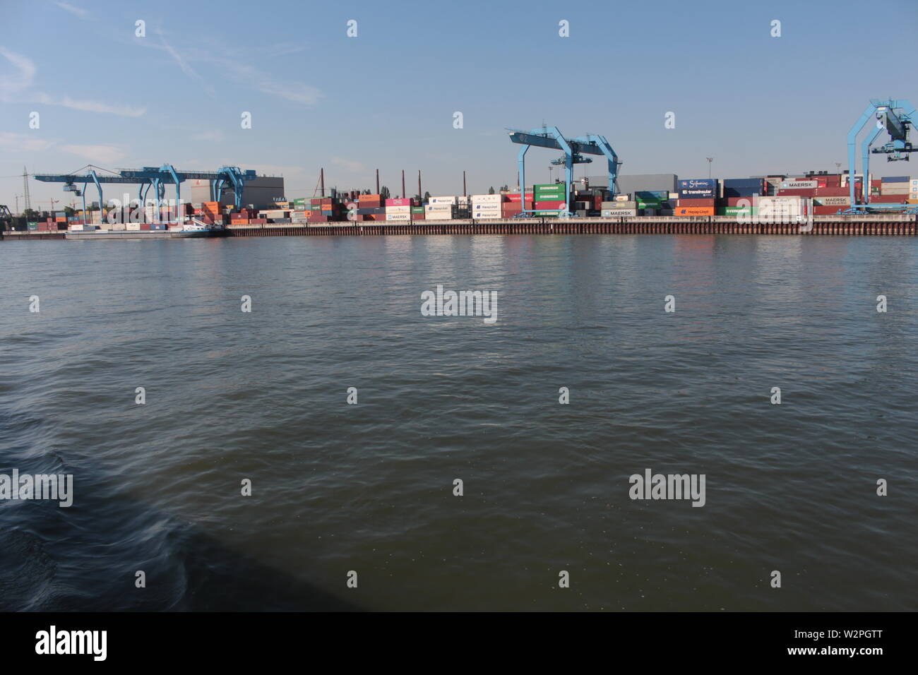 Cargo port on the Rhine river in Mainz - Stock Image
