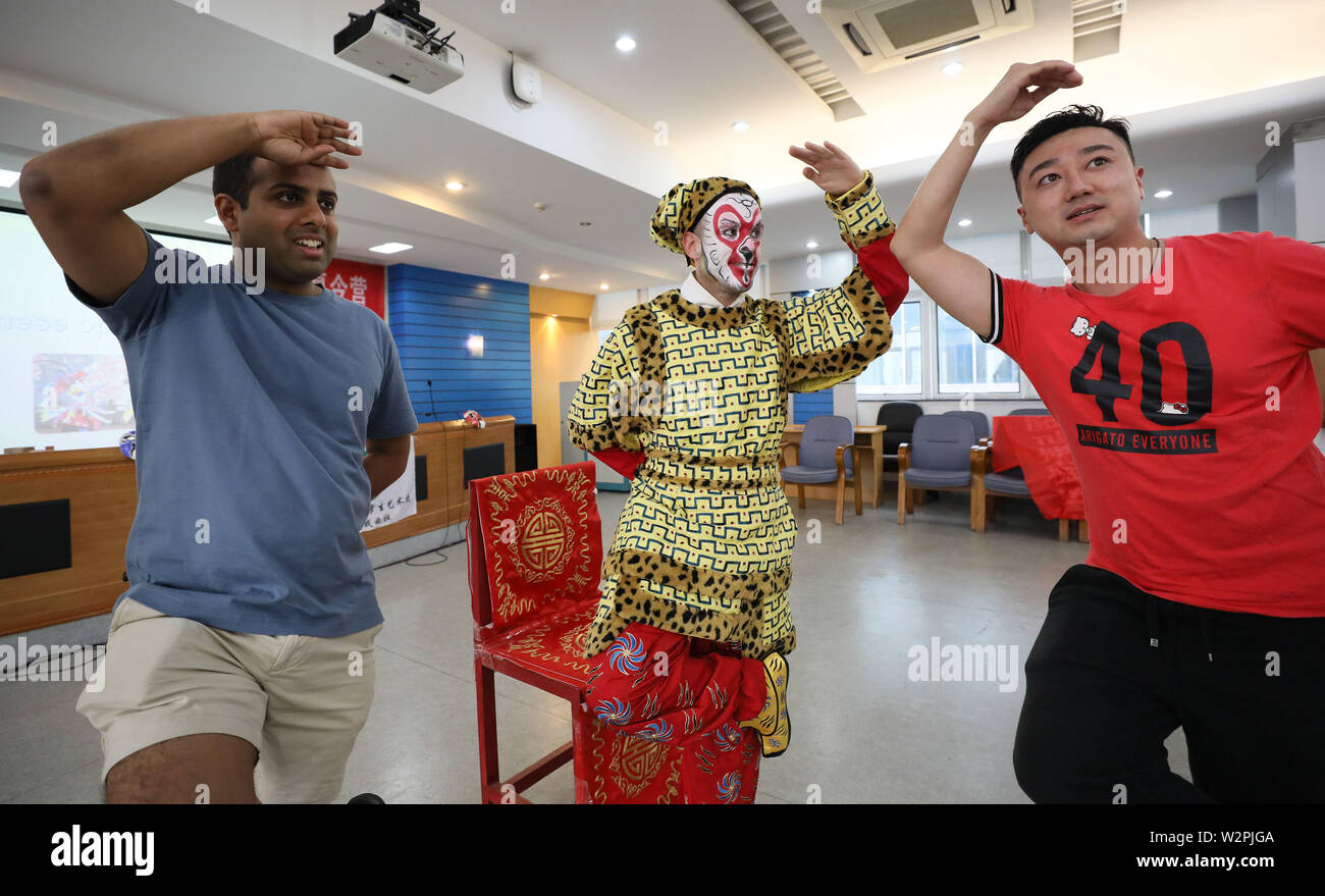 Jiangsu, Jiangsu, China. 10th July, 2019. Jiangsu, China - July 10 2019: Eleven students from the Goldsmiths Confucius institute for dance and performance at University of London have entered jiangsu university for a 2019 summer camp in China.Through the appreciation, learning and experience of Chinese opera, they perceive the charm of traditional Chinese culture.They will also learn Chinese calligraphy and tai chi, visit historical and cultural sites, and embark on a rich cultural tour of China. Credit: SIPA Asia/ZUMA Wire/Alamy Live News Stock Photo