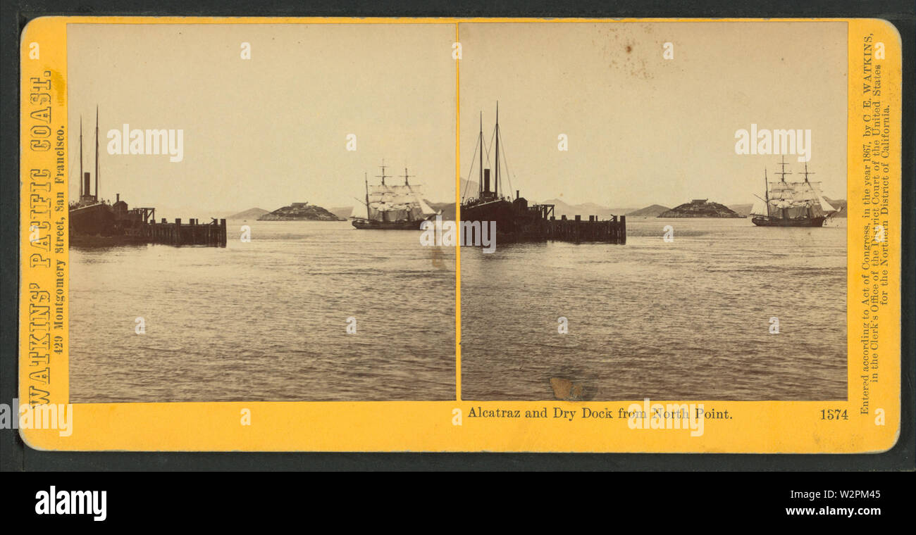 Alcatraz and Dry Dock from North Point, from Robert N Dennis collection of stereoscopic views - Stock Image