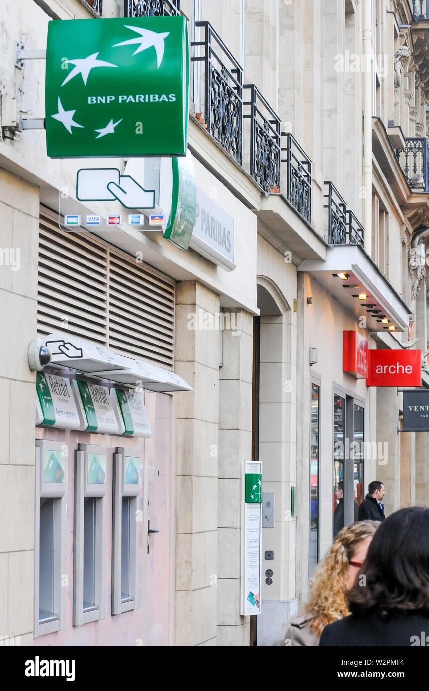 BNP Paribas bank, Paris, Ile-de-France, France - Stock Image