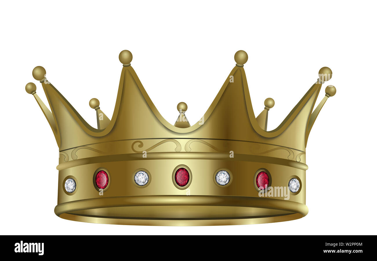 isolated gold crown with rubies and diamonds vector - Stock Image