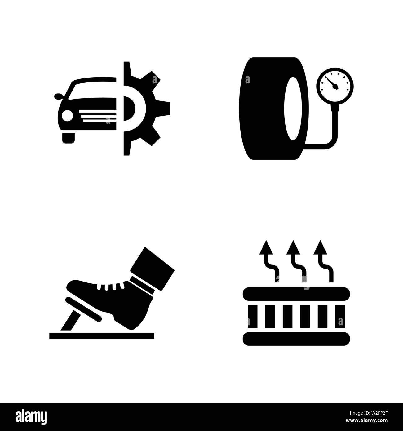 Car Parts Simple Related Vector Icons Set For Video Mobile Apps