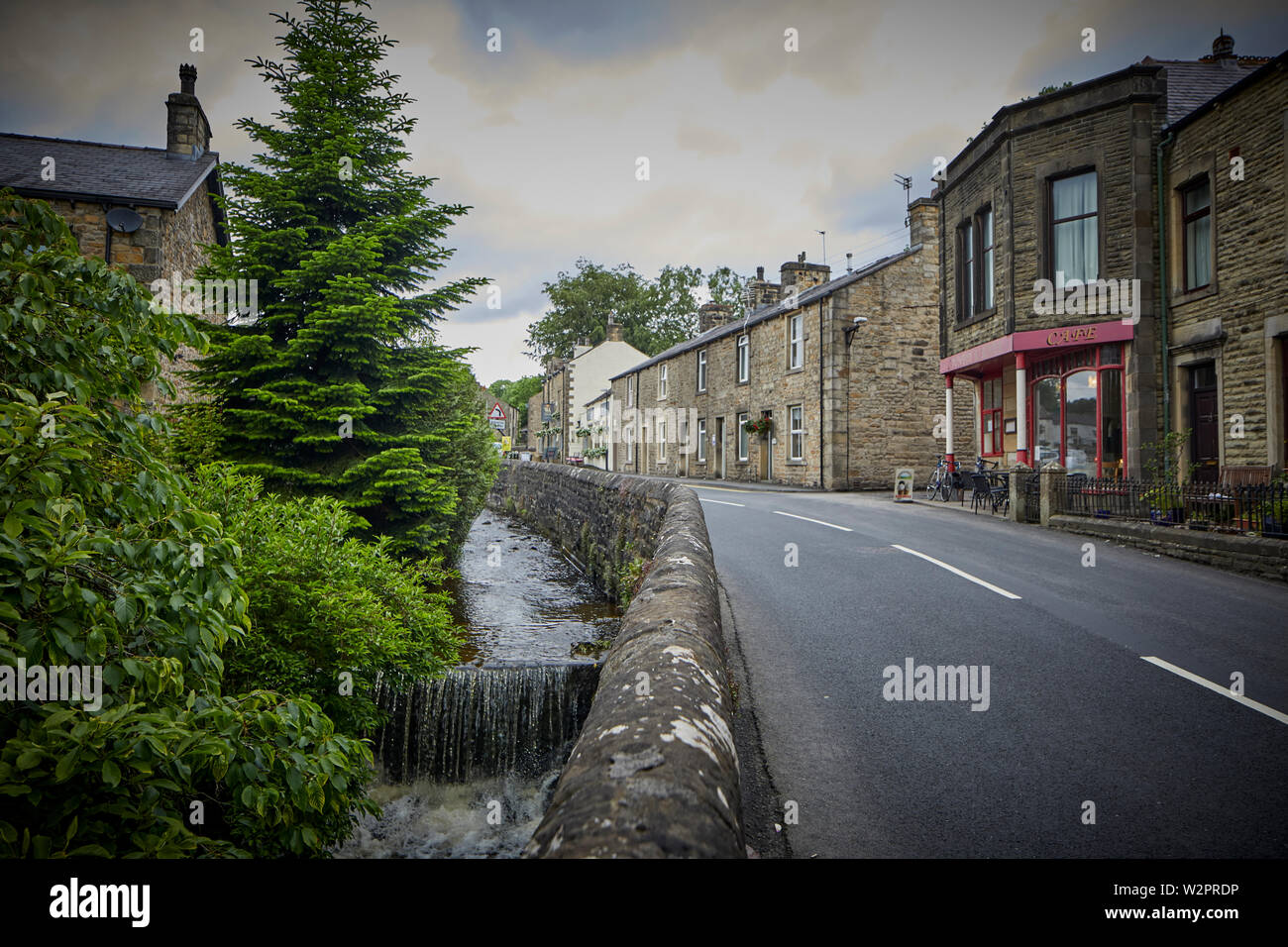 Waddington small picturesque village near Clitheroe in the Ribble Valley, Lancashire, Country Kitchen (red) Assembly Rooms, Clitheroe Rd, - Stock Image