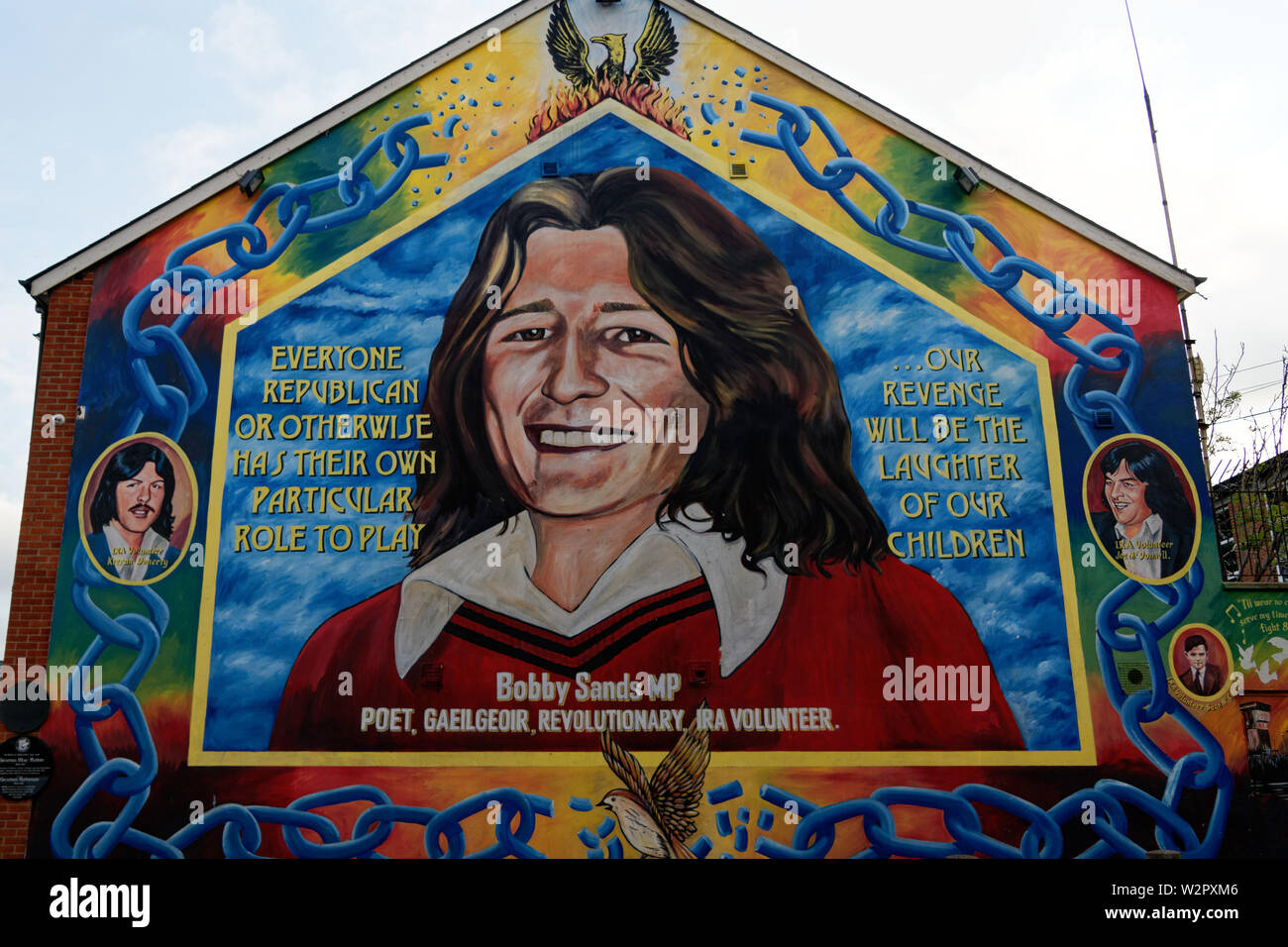 Bobby Sands mural on the Falls Road,Belfast city, Northern Ireland. - Stock Image