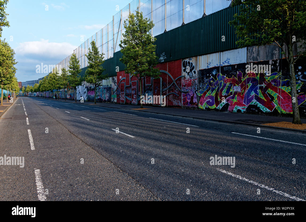 International Peace Wall,Cupar Way,West Belfast , Northern Ireland, UK - Stock Image