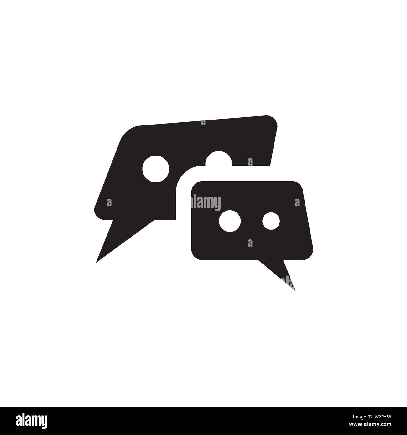 Speech Bubble Icon In Flat Style Vector For Apps, UI, Websites. Black Icon Vector Illustration. - Stock Image