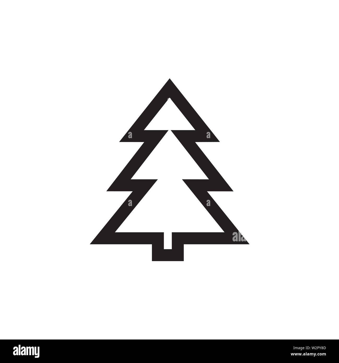 Christmas Tree Icon In Flat Style Vector Icon Silhouettes Of Black