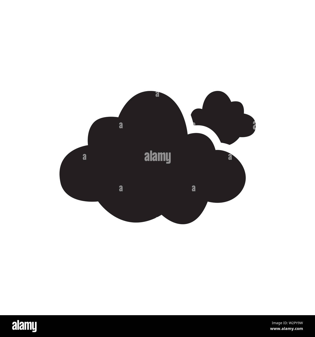 Cloud Icon In Flat Style Vector Icon For Apps, UI, Websites. Cloudy Black Icon Vector Illustration. - Stock Image