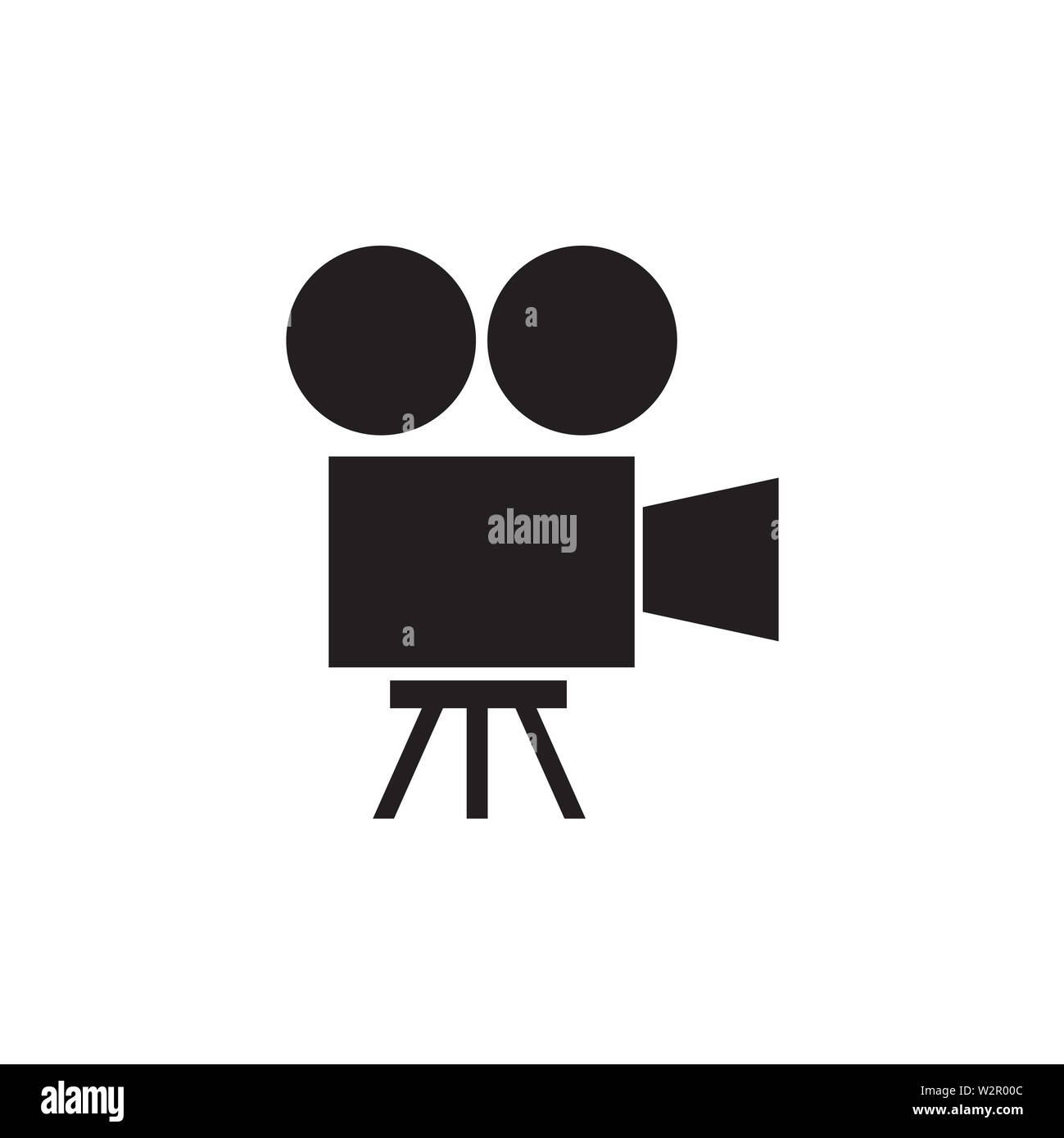 Film Camera Icon In Flat Style Vector For Apps, UI, Websites. Black Icon Vector Illustration. - Stock Image