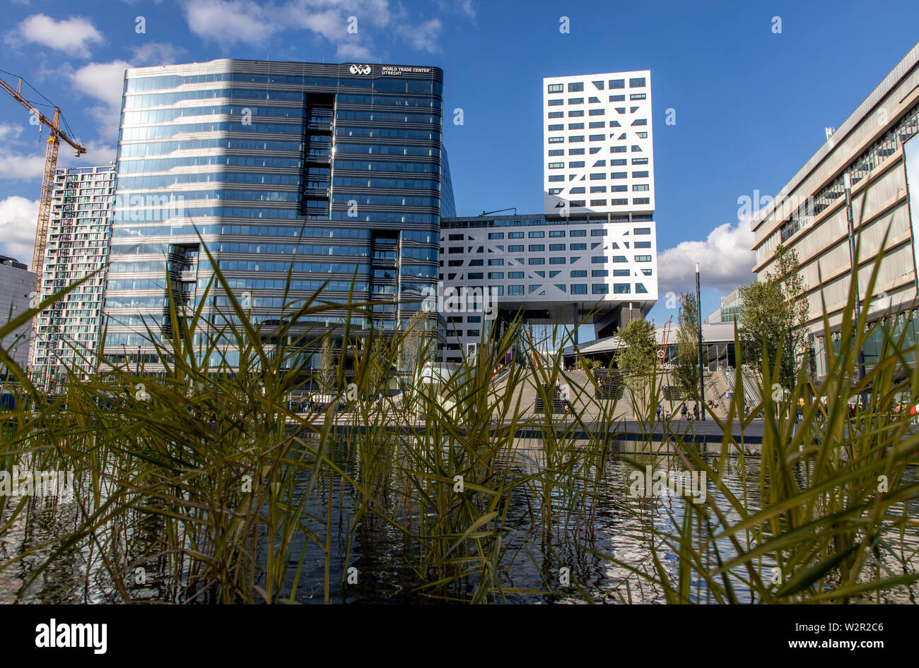 Utrecht, Netherlands, Town Hall, white, Worldtrade Center, at the main station, Utrecht Centraal, - Stock Image