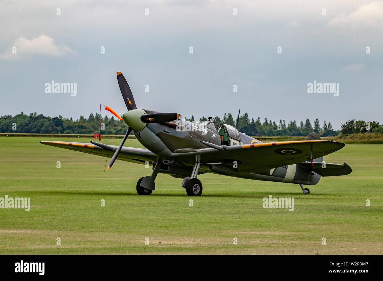 Spitefilre on the ground at Sywell  Aerodrome, Northamptonshire, UK. - Stock Image