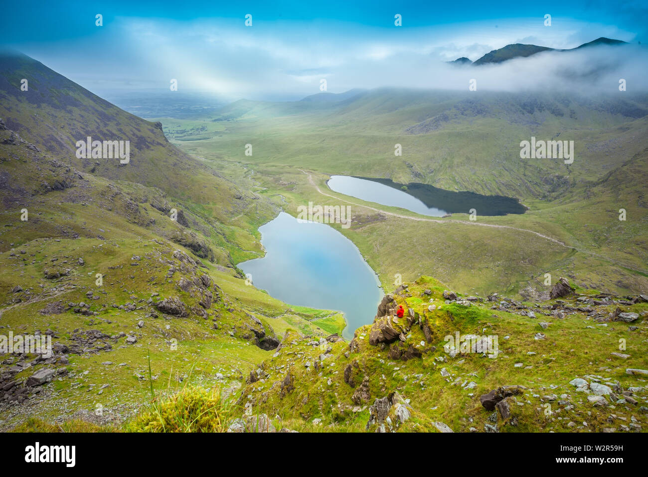 MacGillycuddy's Reeks, co. Kerry / Ireland : Spectacular landscape view from the the highest Irish mountains Stock Photo