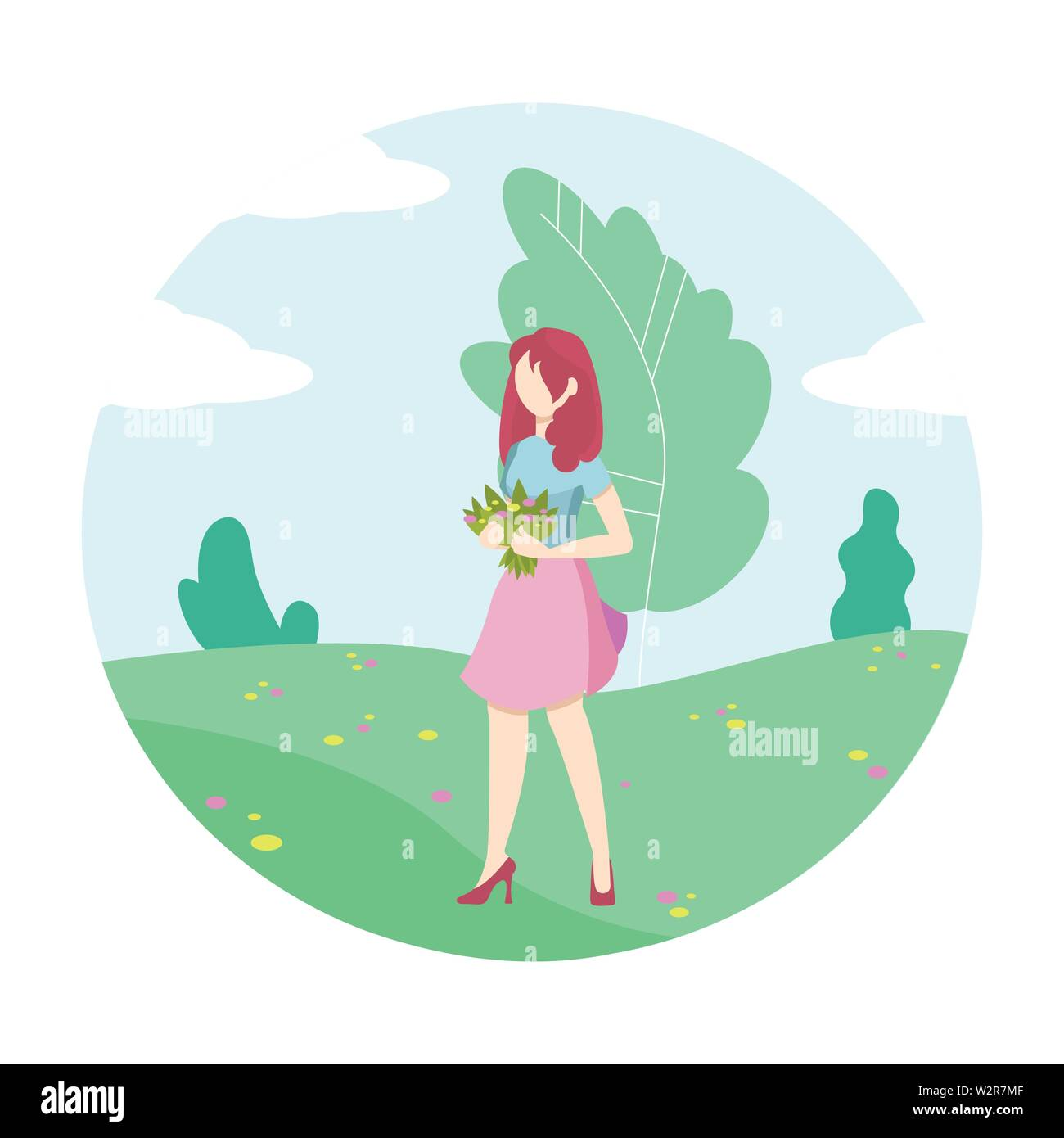 Young Woman Character in Park with a bouquet of flowers. - Stock Vector